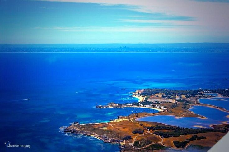 Distant Perth viewed from above Rottnest Island