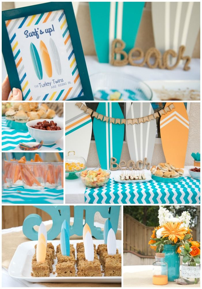 beachy teal orange twin baby shower