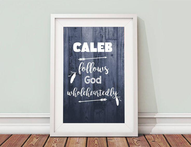 Caleb Name Meaning - Printable Caleb Name Art 8x10 - Set of 2 Digital Downloads - The Perfect Name Print Meaning Caleb Baby Gift