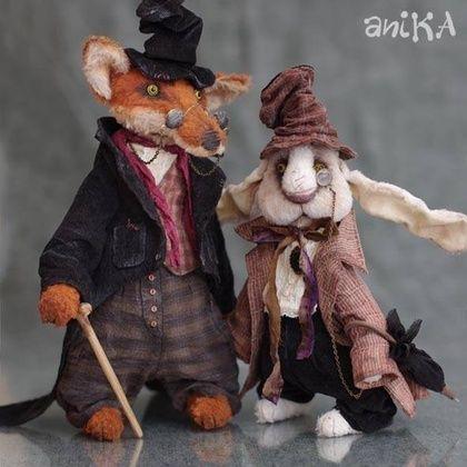 Мишки Тедди ручной работы. Ярмарка Мастеров - ручная работа Братец Лис и Братец Кролик. Handmade.