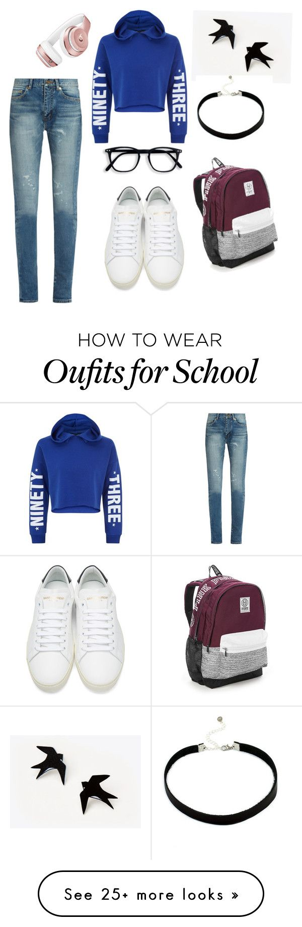 """School look"" by hahsks on Polyvore featuring Yves Saint Laurent, New Look, Victoria's Secret and Beats by Dr. Dre"