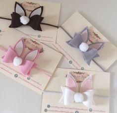 Large Easter cotton tail bunny bow rabbit bow felt & glitter bow baby girl / girl crocodile clip or headband. Sizes newborn-adult. by RosesandBows1 on Etsy www.etsy.com/...
