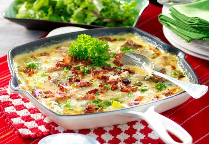 Fläskfilépanna med gorgonzola och bacon