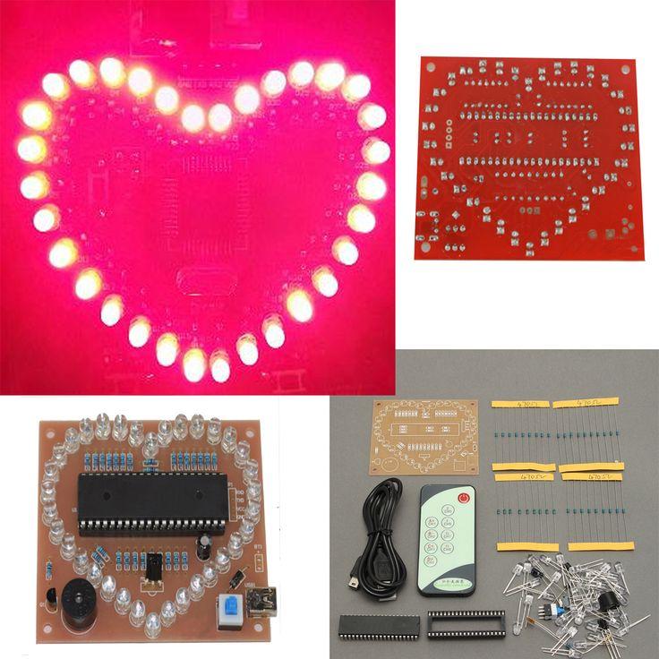 51 scm rosa LED luz amor corazón forma diy kit