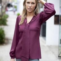 Pure Silk 'Stand By Your Man' Pussybow Blouse - Burgundy  www.jenniferkate.net.au