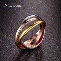300р, Производитель__Newbark бренд класса люкс 18 К розового золота трехместный тон tri-rail ролл ссылки топ классический дизайн обручальное кольцо для женщин и мужчин