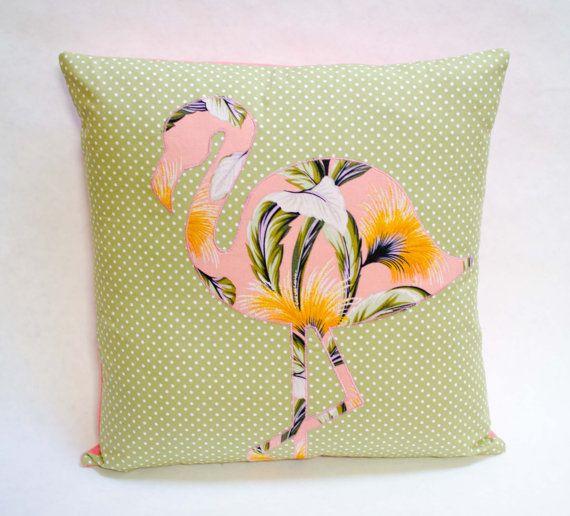 Tropical Tradewind Flamingo on Green Polka Dots Cushion