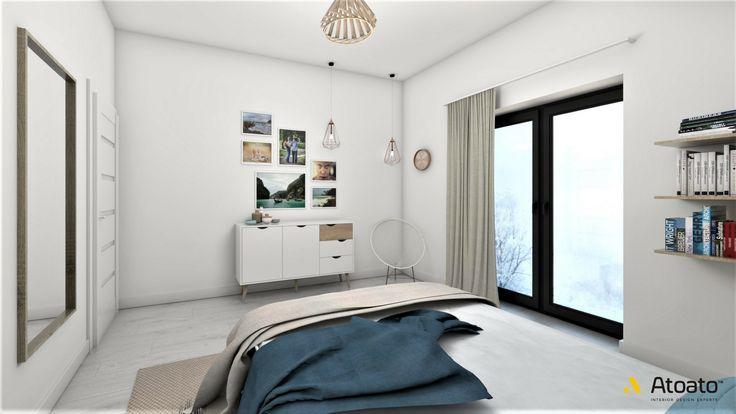 #atoato.pl #interior #design #modern #style #bedroom #woodenlamp #wood #colors #projektywnętrz #pasja #wnętrza #salon #biel #granat #miedź #copper #concrete