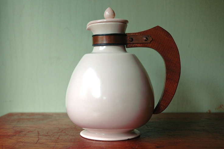 Mid Century Modern Carafe With Wooden Handle - California Modern Ceramic Pitcher. $42.00, via Etsy.