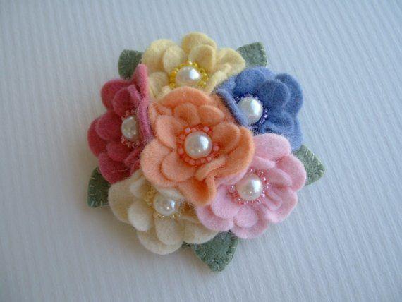 Felt Flower Cluster Pin by Beedeebabee on Etsy