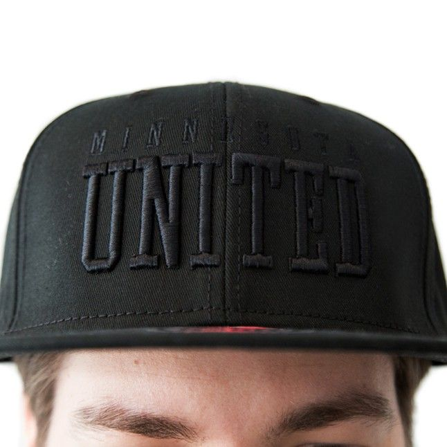 Show off your Minnesota United FC pride by wearing this black flat brim hat with the Minnesota United in 3D black stitching on the front. This is a snap back hat, with a plastic snap closure on the back. Hat is 100% cotton with a structured, high profile.