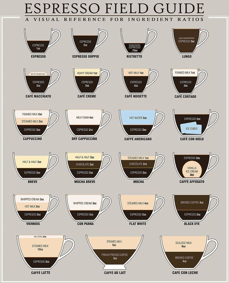 Every type of coffee drink explained in a simple infographic.