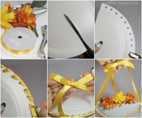 Esta canasta de flores est hecha con un plato desechable for Adornos colgar pared