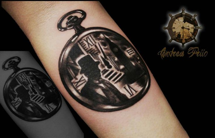 Pocket watch tattoo# background of london
