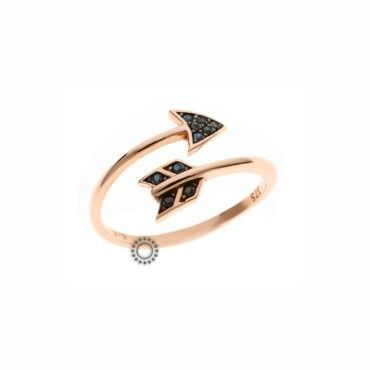 Μοντέρνο δαχτυλίδι βέλος κυκλικό από ροζ χρυσό Κ9 ανοιχτό σχέδιο με μαύρα ζιργκόν | Κοσμήματα ΤΣΑΛΔΑΡΗΣ στο Χαλάνδρι #βελος #ζιργκον #χρυσο #δαχτυλίδι