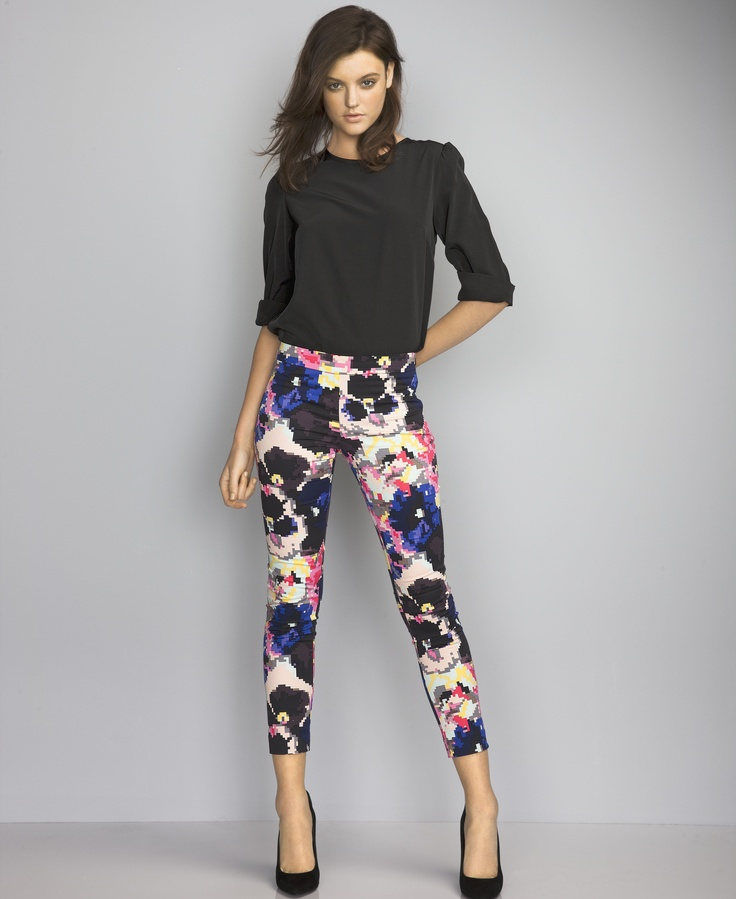 AKIN by Ginger & Smart Fancy Pansy Pant ~ worn by Montana Cox for David Jones #akin @#gingerandsmart #davidjones #pants #print #montanacox #autumnwinter2013 #fashion