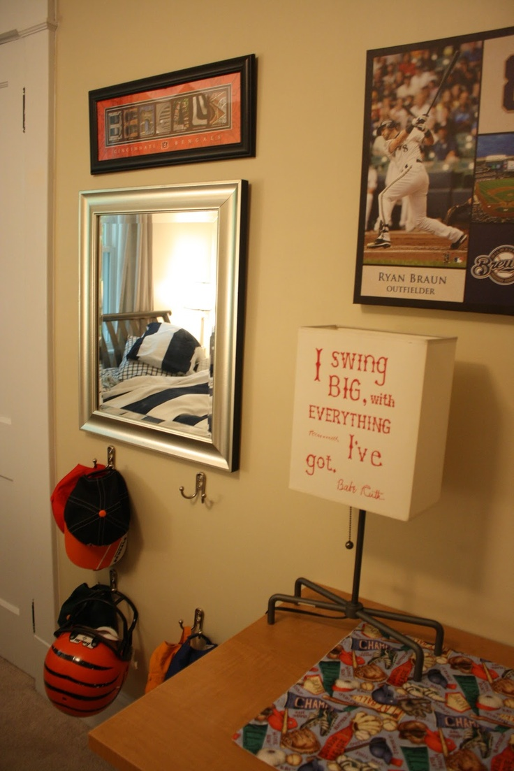 For My Sons Baseball Bedroom Hang A Mirror At His Height Instead Of Above The Dresser Where He Couldnt See Himself Add Some Inexpensive Wall Hooks