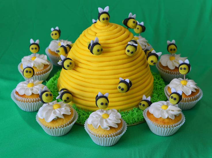 Children's Birthday Cakes - Bee hive, bees with cupcakes and daisies