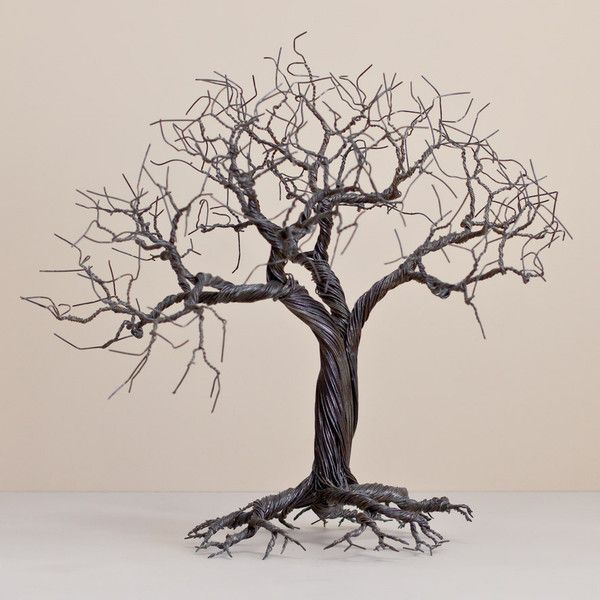 Wire Tree | The Woven Trail.  Reclaimed wire used to create a unique patina on each tree.  #upcycle #recycle #handmade #art #bonsai