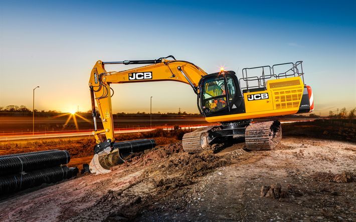 Download wallpapers JCB JS300, Excavator, modern construction equipment, road construction, construction concepts
