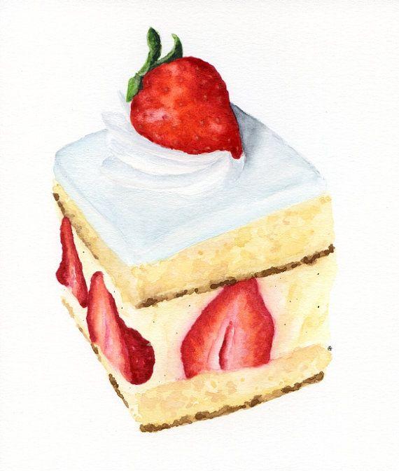 Strawberry Vanilla Cake - ORIGINAL Painting (Desset Illustration, Still Life, Watercolour Food Wall Art)
