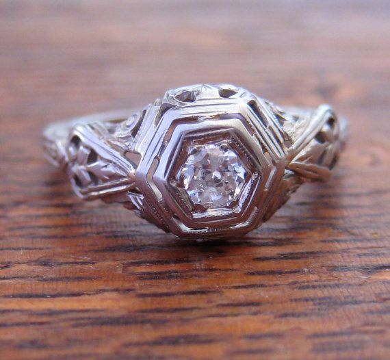 Antique Art Deco Engagement Ring 18K White Gold by OldShinyThings