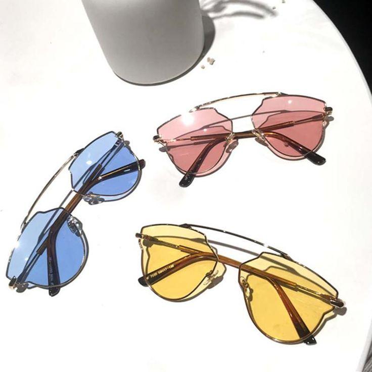 2018 Classic Cat Eye Metal Women Sunglasses Brand Designer Yellow Pink Sunglasses Retro Vintage Women Fashion SEXY Glasses UV400