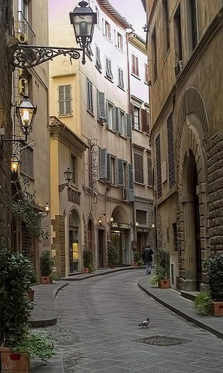 Florence, Italy. We casually stroll down and enjoy a street like this. More good wine and food.