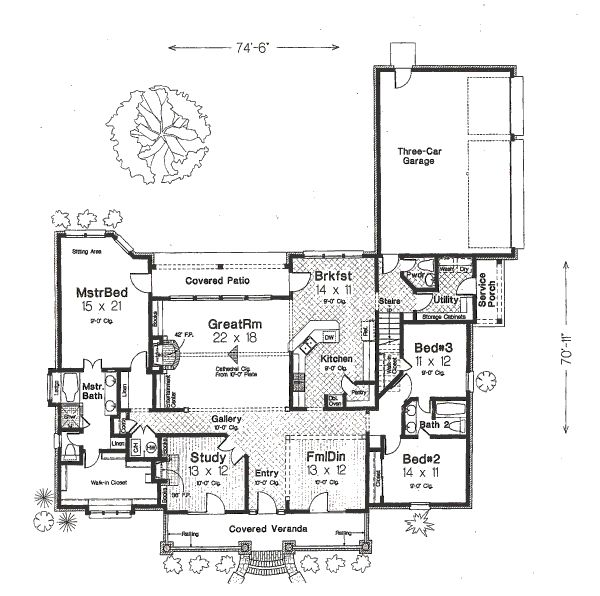 Main Floor House Blueprint I Like This Even As A Ranch I Would Probably Change Around The Master Suite A Bit And The Three Doors In The Front Of The