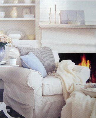 Beach Cottage Living Room - warm & cozy fireplace.....To live by the sea.