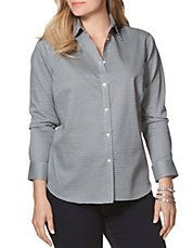 Plus Houndstooth Poplin Sport Shirt