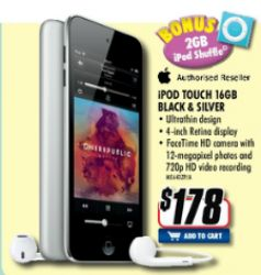 16 GB iPod touch for $178, with free iPod shuffle *and* $10 store credit @ Good Guys