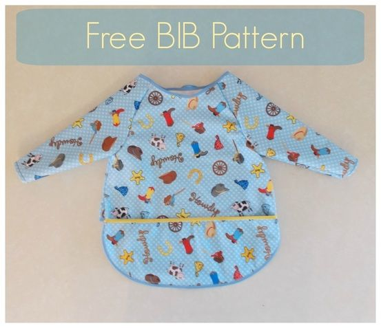 Long-sleeved Bib - FREE pattern, sizes S (12-24M), M (2T - 3T), L (3T - 4T).  Even has a crumb-catching pocket.  Great idea to use the bib for older kids' art projects!  (I might make the sleeves wider so that it will fit easily over long-sleeved clothing in the winter months.)