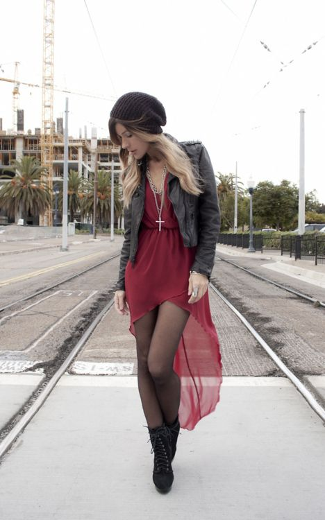 this dress is cute in every outfit she wears! 1. HAT, h    2. LEVI'S JACKET, vintage    3. LAYERED CROSS NECKLACE, bycelina    4. DRESS, love    5. ...