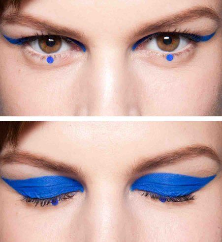 Graphic eyeliner in kobalt blue....very important this fall!