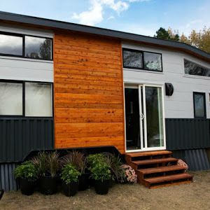 A 450-square-feet pre-fab home from Green Pod Development. a beautiful, modern home produced in Townsend, Washington.