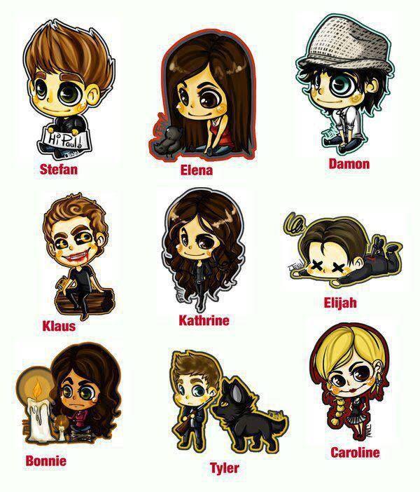 Bonnie, cute, caroline, characters, stefan, chibi, damon, elena, katherine, love this, elijah, The Originals, tyler, Vampire Diaries, vampir...