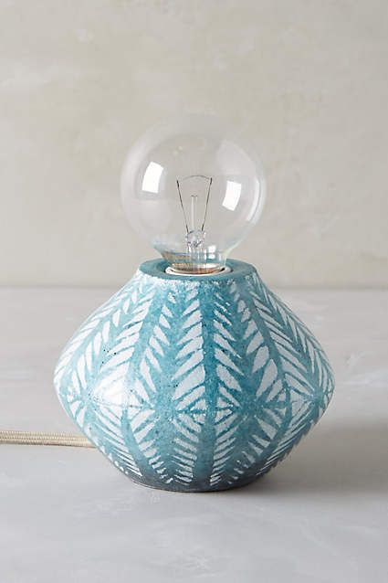 Handpainted Earthenware Lamp Base - anthropologie.com Well aren't you a luscious little thing? No shade necessary.