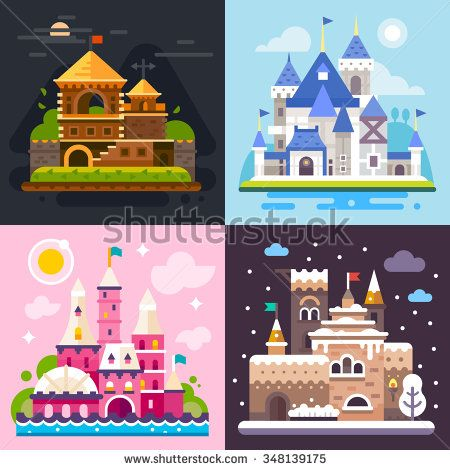 Four awesome fairytale castles on different backgrounds: fairy pink castle, snow covered north castle, beautiful european castle on the lake, night creepy castle. Flat vector illustration set.