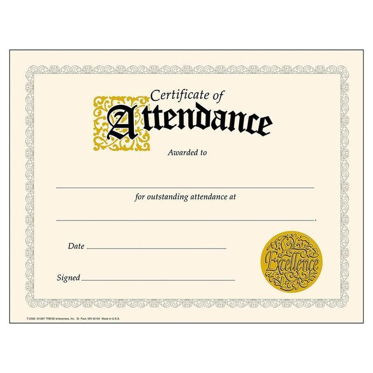 The 25+ best Attendance certificate ideas on Pinterest - printable certificate of attendance