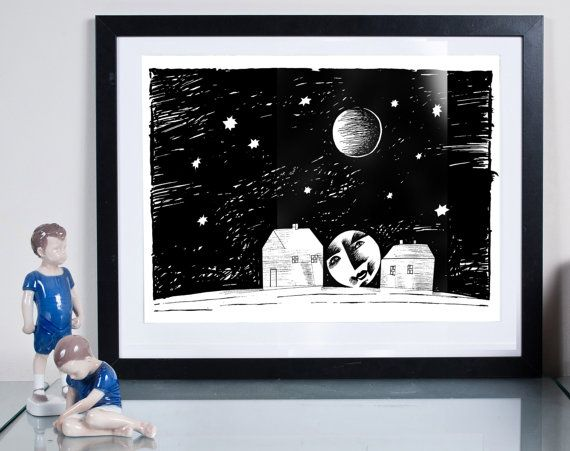moon over the street ...Illustration art giclée signed by Tomek Wawer, #black #night #poster