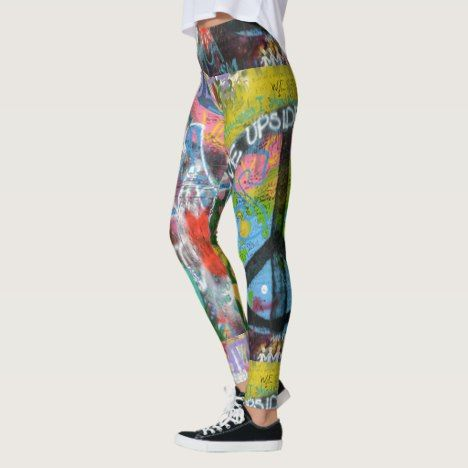 Live Upside Down Peace Sign Wall Leggings
