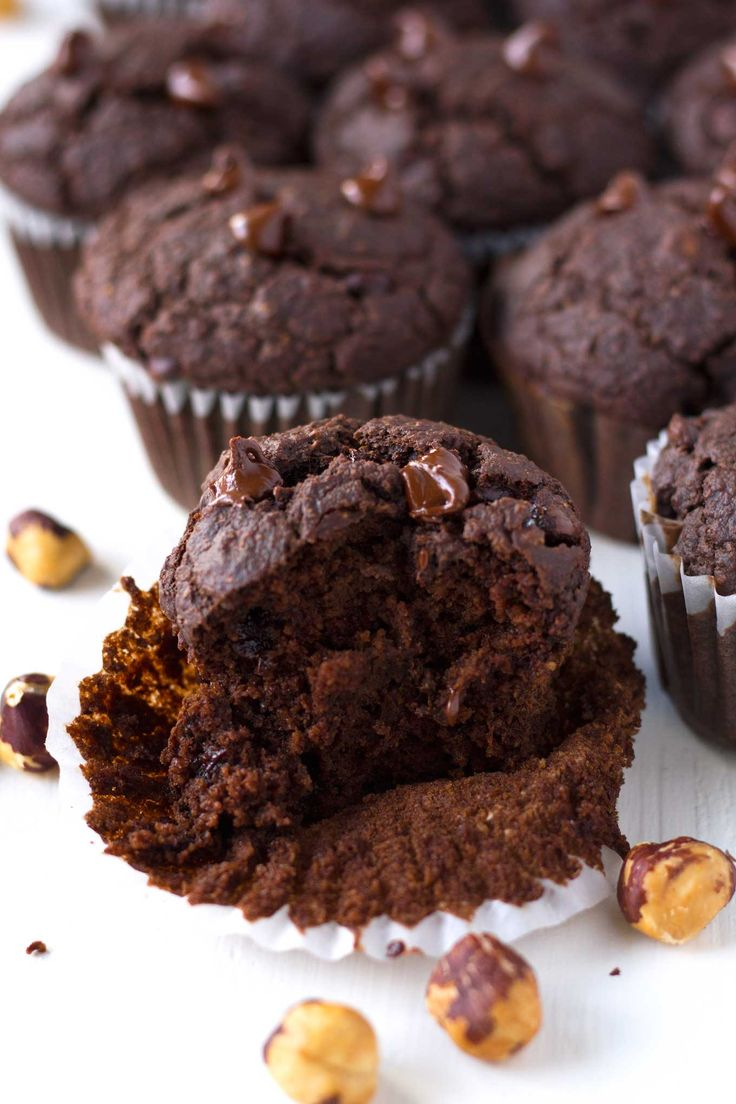 Chocolate and healthy meet in these delicious vegan double chocolate hazelnut blender muffins! Gluten-free and oil-free, yet still moist and decadent!