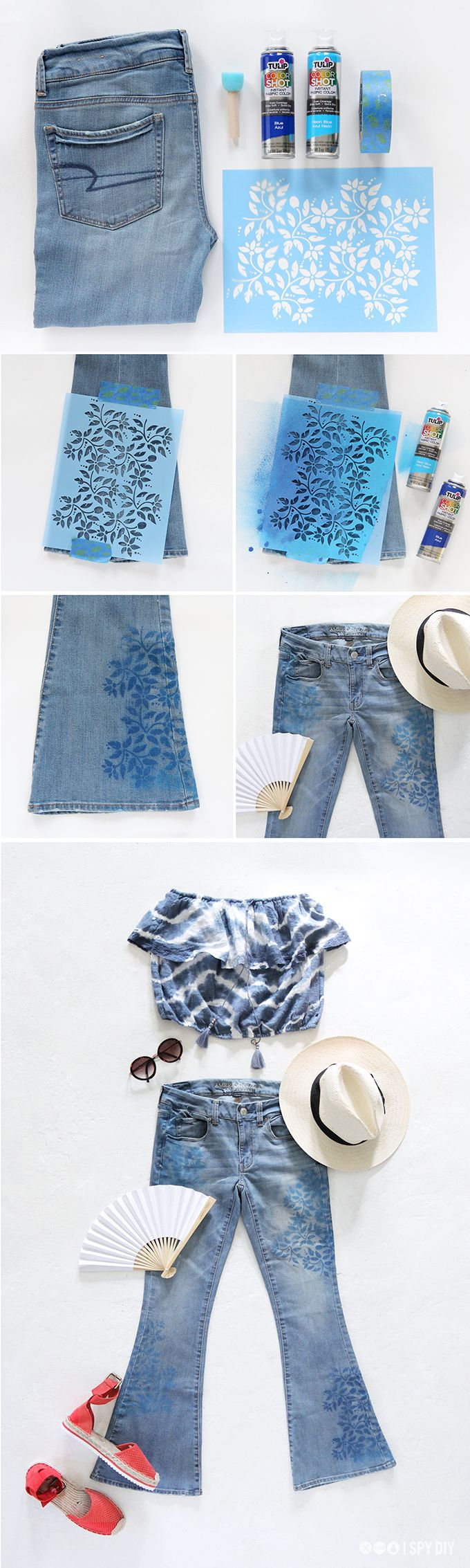 DIY: floral print denim