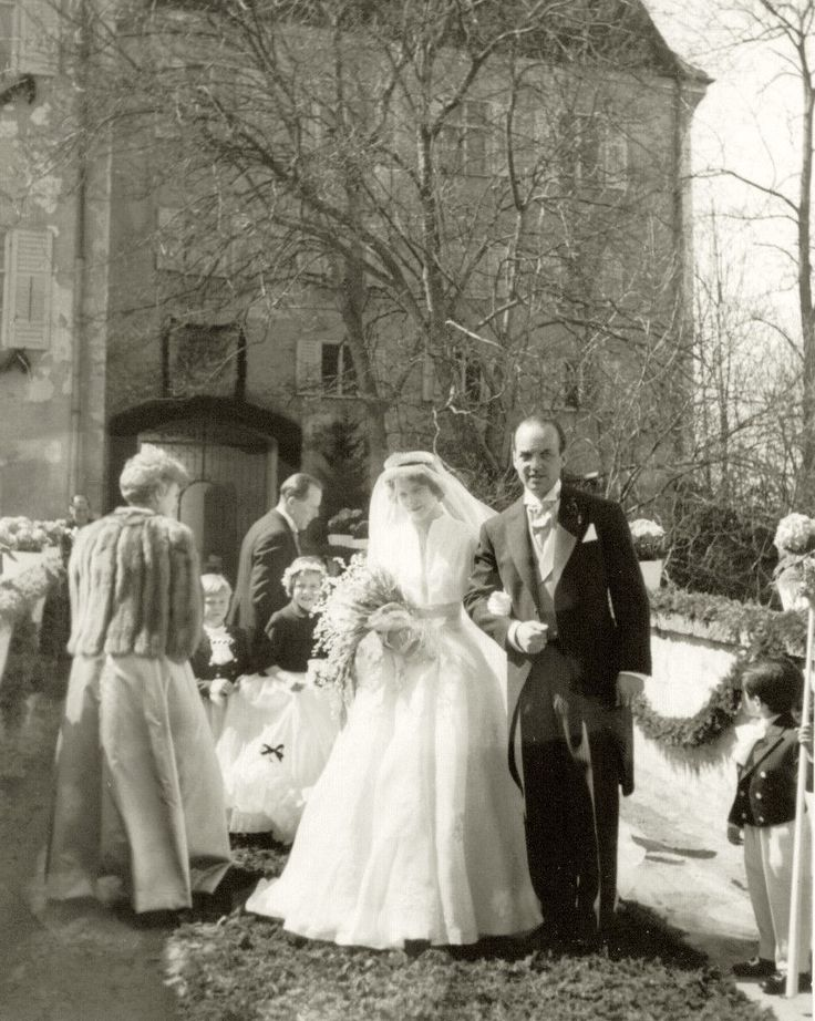 The wedding of Countess Helene zu Toerring Jettenbach with the Archduke Ferdinand Karl of Austria. Seefeld am Pilnsee, Bavaria, April 10, 1956.  Helene is daughter of Princess Elisabeth of Greece and Denmark (daughter of Prince Nicolaos of Greece and  Grand Duchess Helena Vladimirovna of Russia), and mother of the gorgeous Archduchess Sophie of Austria, Princess zu Windisch -Graetz by marriage.