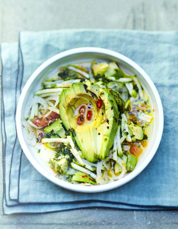 Salade avocat, courgette, concombre, pamplemousse pour 6 personnes - Recettes Elle à Table
