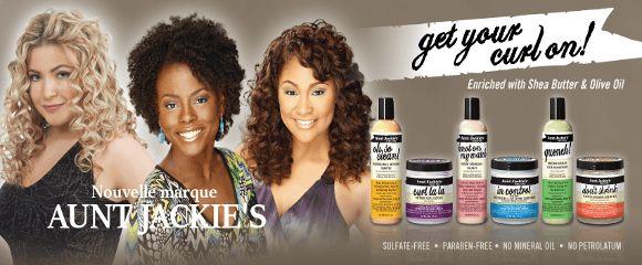 Aunt Jackie's une thérapie capillaire naturelle de haute qualité (sans: paraben, sulfate, huile minérale, vaseline) pour tous les types de cheveux à découvrir ou à redécouvrir sur: http://www.dinafroshop.com/48_aunt-jackie-s