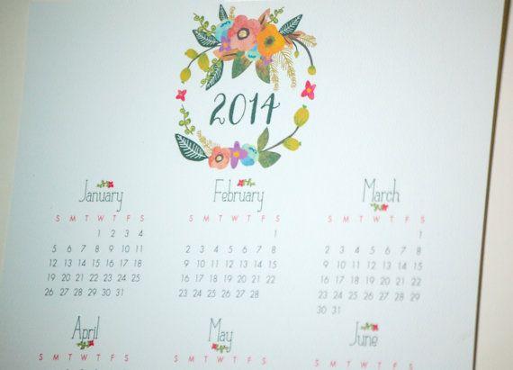 2014 Wall Calendar   Floral Wreath by tinyfarmstudio on Etsy, $10.00