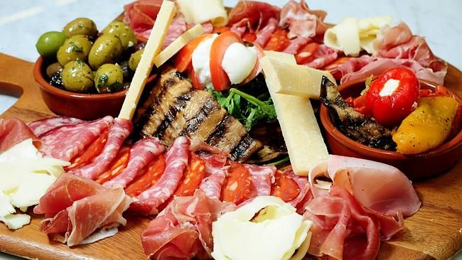 Antipasto platter at Paesanella cafe and food emporium at Marrickville. Picture: John App