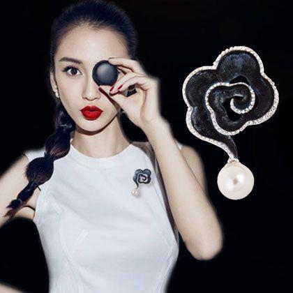 Элегантность великобритании принцесса кейт же черная роза брошь Pin с мотаться жемчугом 2016 женщины мода ювелирных аксессуаров
